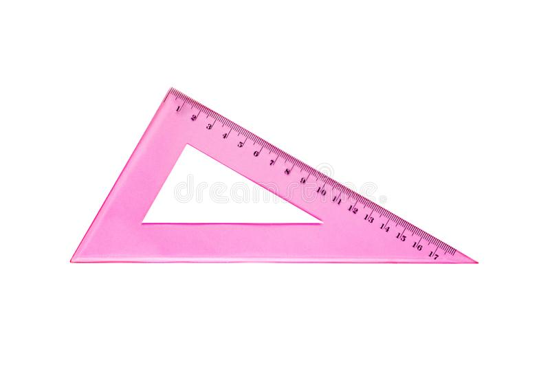 One plastic pink triangle with degrees and digits for education or work isolated on white background. Top view royalty free stock photography