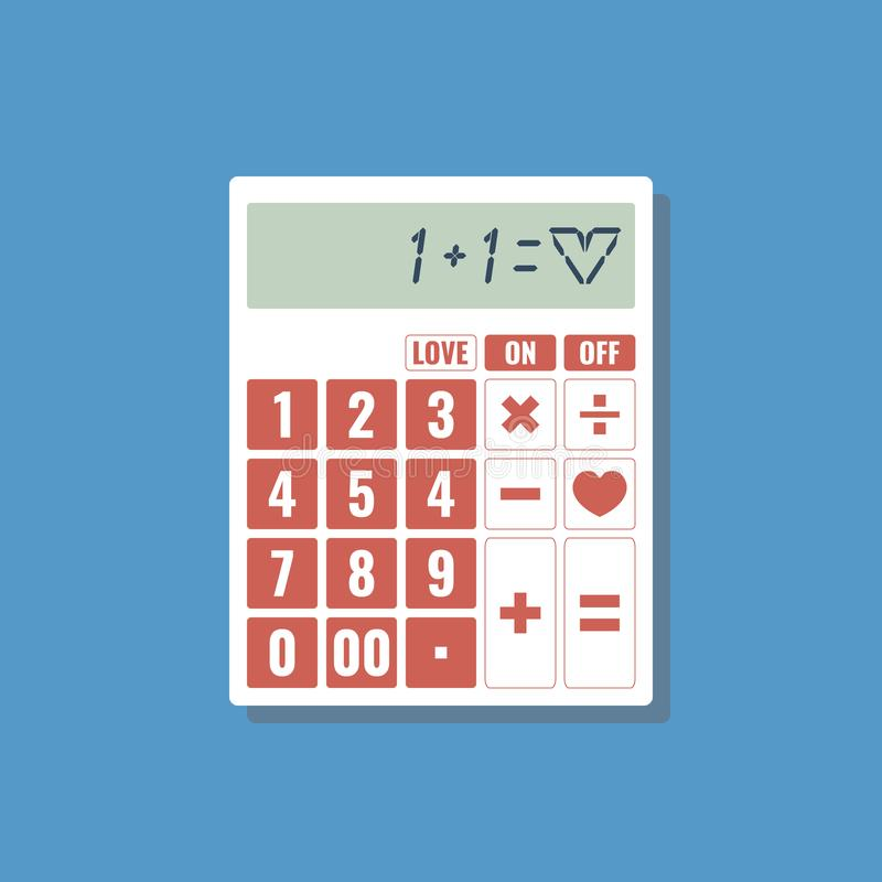 One plus one equal love - love calculator. Flat design stock illustration