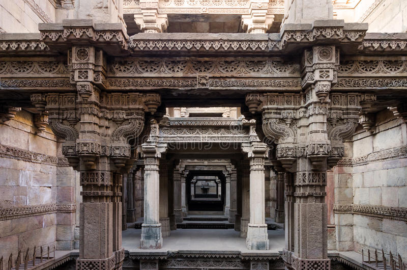 One Point Perspective at Adalaj Stepwell in Ahmedabad. Gujarat, India royalty free stock photography