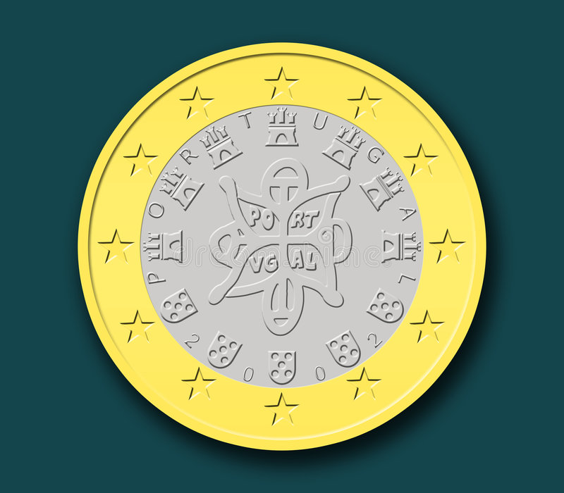 One Portuguese Euro Coin. In shapes with dark background royalty free illustration