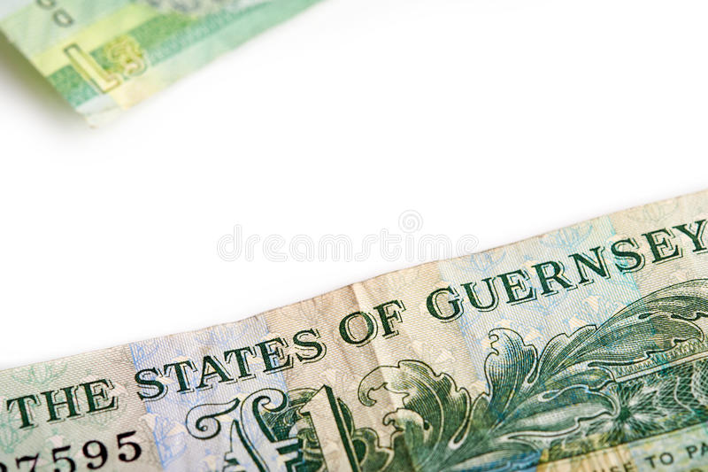 A one pound note. From the Island of Jersey on a white background stock photos