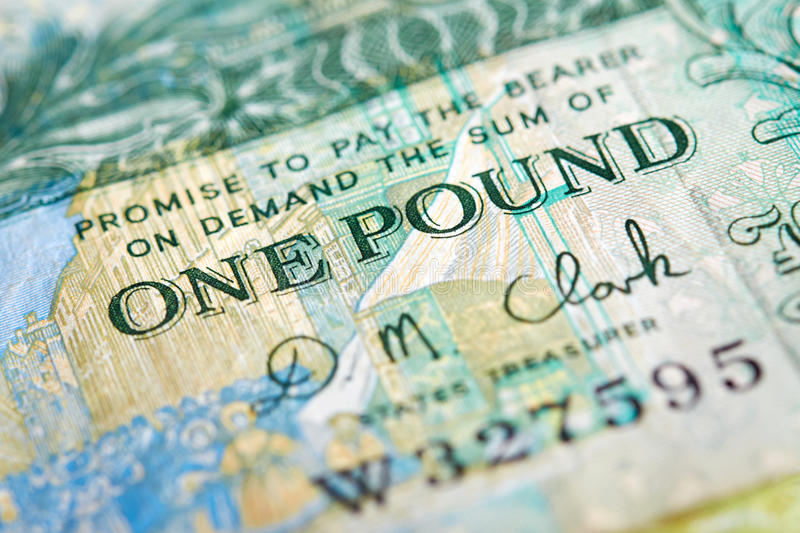 A one pound note. From the Island of Jersey on a white background stock photo