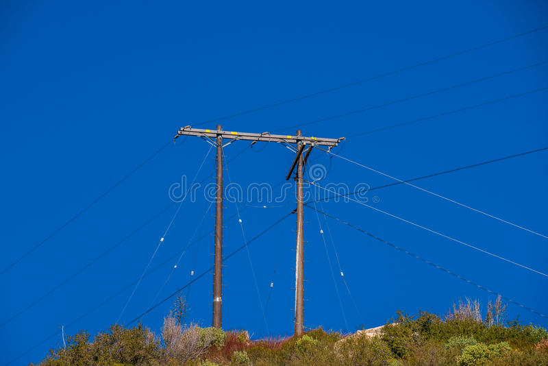 The one and only power line to Crystal Lake royalty free stock photos