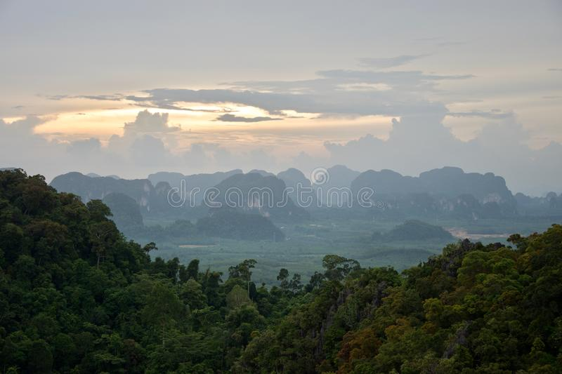 Views from the summit of Tiger Cave Temple in Krabi, Thailand stock images