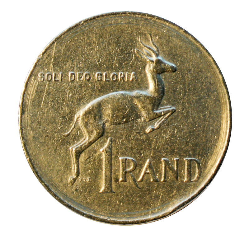 One rand coin isolated on white. South Africa. 1977 stock photos