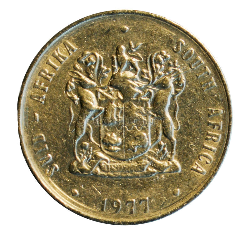 One rand coin isolated on white. South Africa. 1977. Reverse stock images