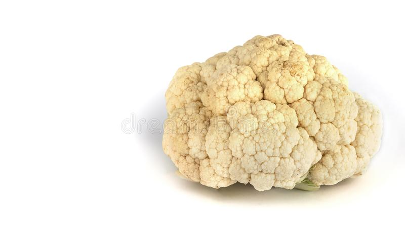 One Raw Cauliflower isolated on pure white background. Healthy food stock images