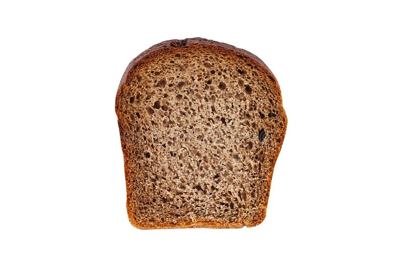 One rectangle piece of fresh rye bread isolated on white background. Top view. Clipping path - image stock photo