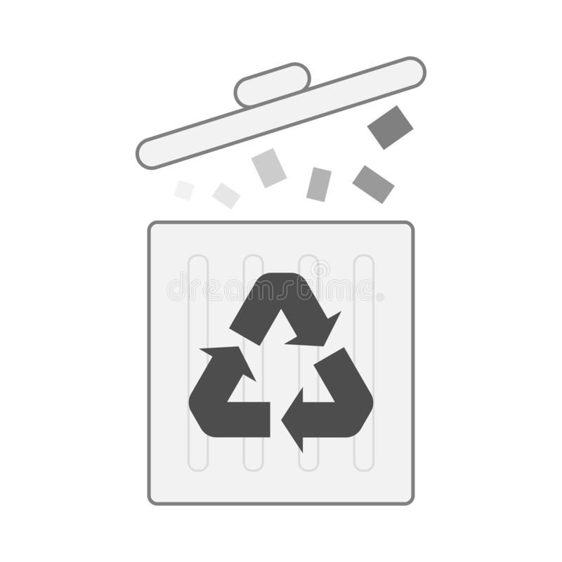 one recycle bin isolated on white for pattern and design stock illustration