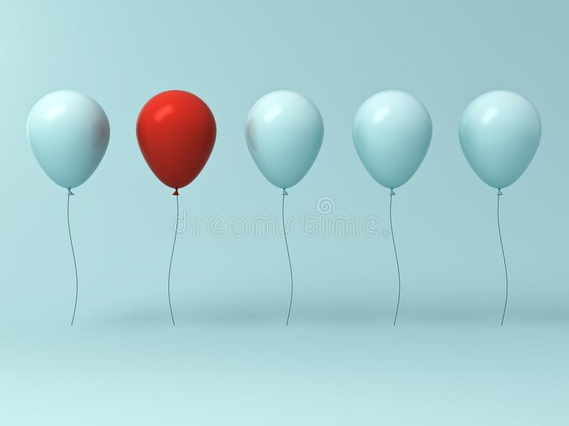 One red balloon different from other balloons on light cyan green pastel color wall background stock illustration