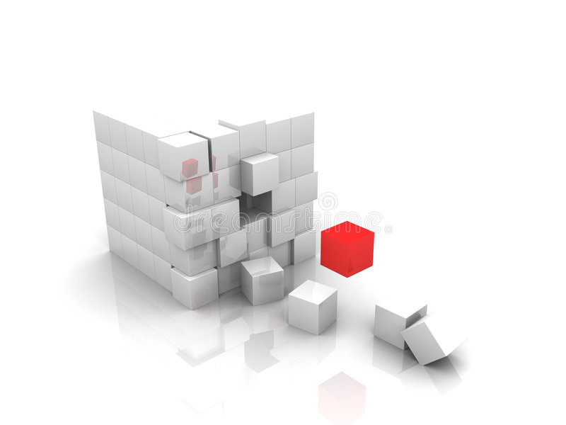 One Red Cube 3d Royalty Free Stock Images