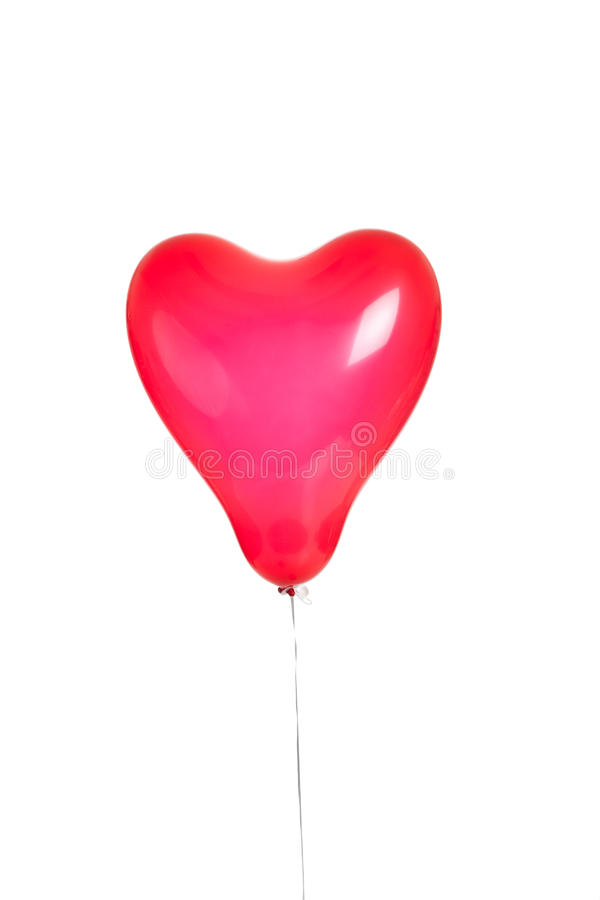 One red heart balloon on white stock photo