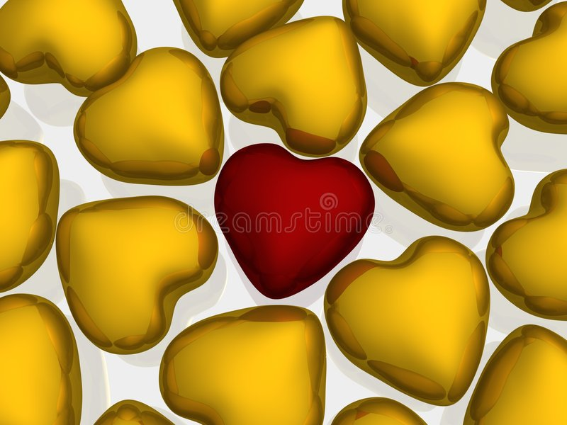 One red heart among gold. 3D image royalty free illustration