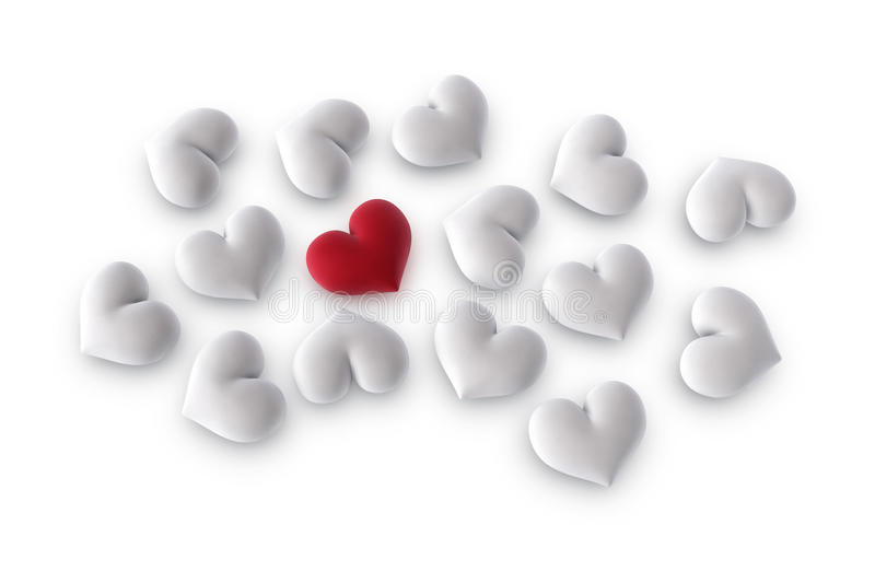 Download One Red Heart Among Several White Stock Illustration - Image: 12401036