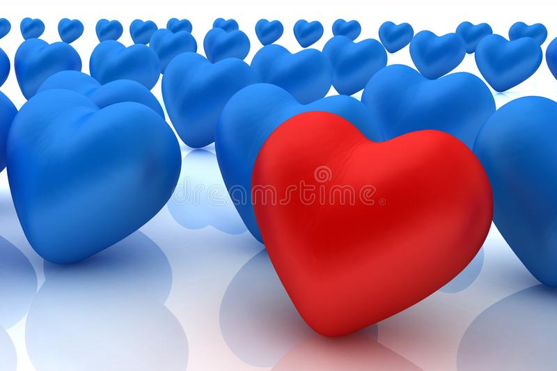 One red heart standing out in crowd. On a white background stock illustration