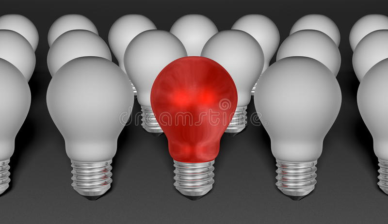 One red light bulb among grey ones on grey textured background vector illustration
