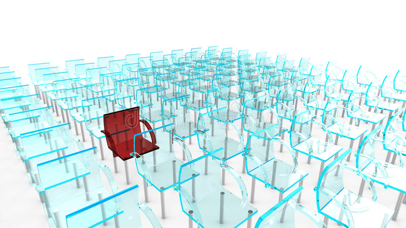 One red of many chairs. One red of many blue chairs as concept for individuality stock illustration