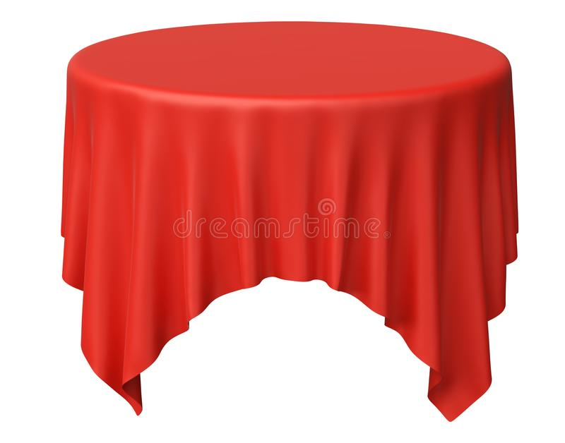 One red round tablecloth with angles. Isolated on white, 3d illustration vector illustration