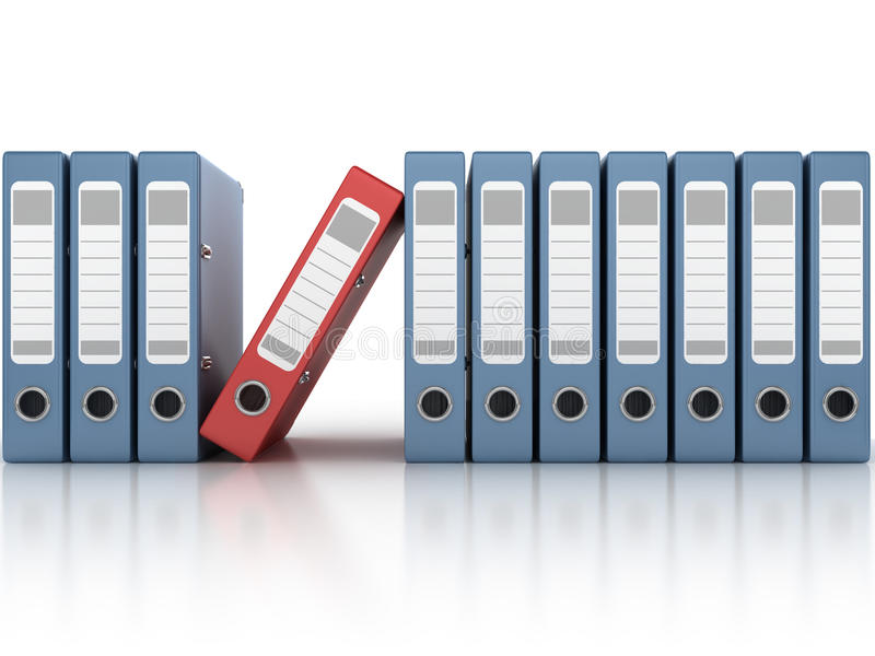 One red and the row of blue ring binders royalty free illustration