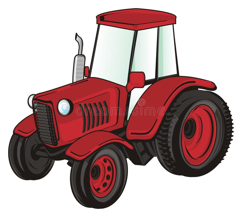 One red tractor. Red tractor stand on a white background stock illustration