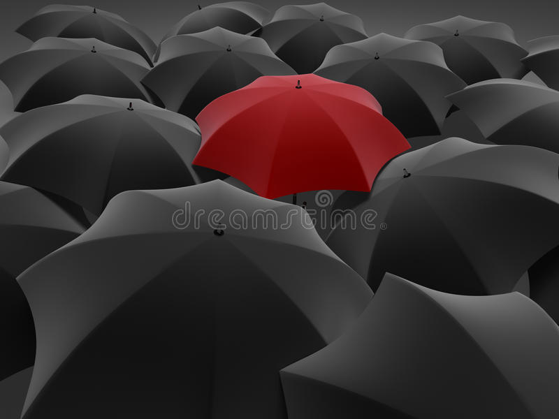 One red umbrella among set of other black vector illustration
