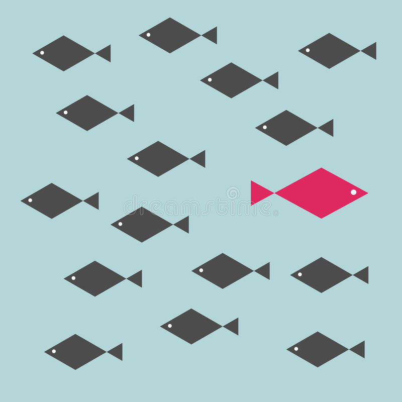 One red unique different fish swimming opposite way of identical black ones. Courage, confidence, success, crowd and creativity concept vector illustration