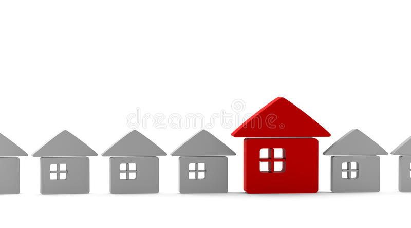 One red unique house standing out from the crowd. Of small gray houses royalty free illustration
