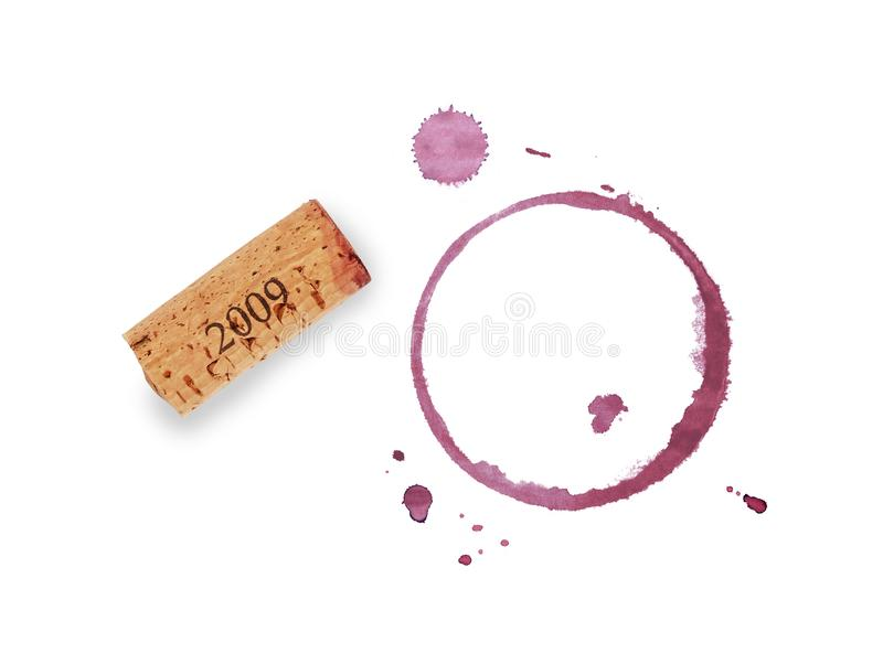 Red wine cork and stain rings isolated on white stock image