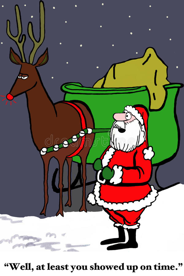 Only One Reindeer is on Time. Christmas cartoon of Santa Claus saying to the one of nine reindeer who is on time, 'Well, at least you showed up on time royalty free illustration