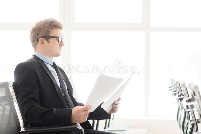 One of reporters stock image