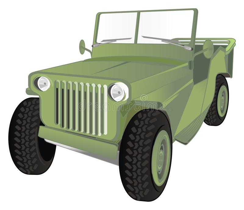One old army car stock illustration