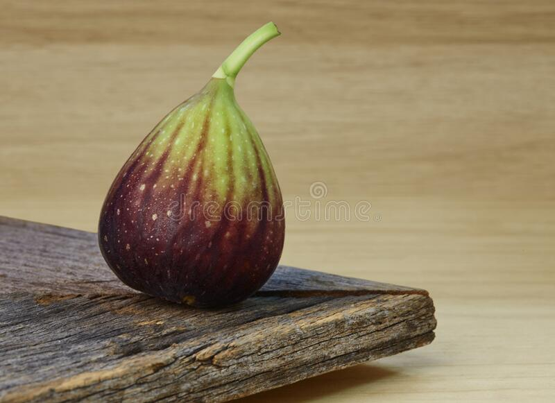 Fig. One ripe whole fresh brown turkey fig on wooden surface stock images