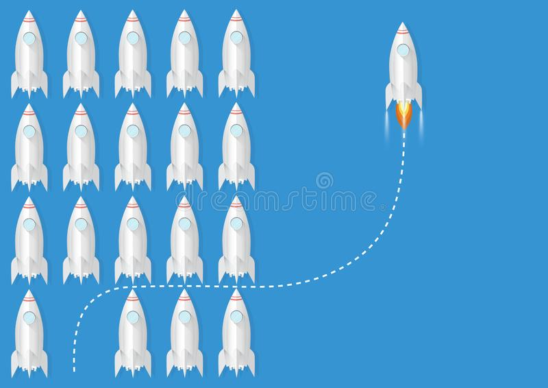 One rocket changing direction differently from the others, business innovation leadership think different new idea changing trend. Concept vector illustration stock illustration