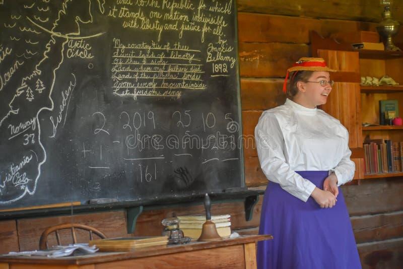 One Room Schoolhouse with Teacher stock photos