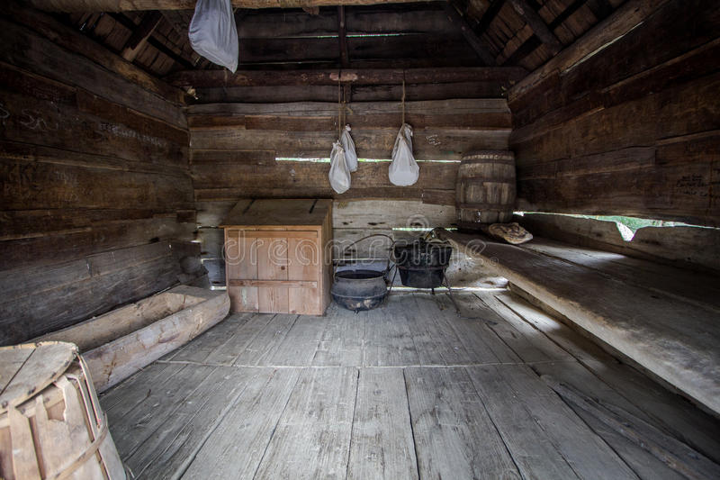 One Room Shack. Interior of a one room pioneer cabin in the Great Smoky Mountains National Park in Gatlinburg, Tennessee stock photos