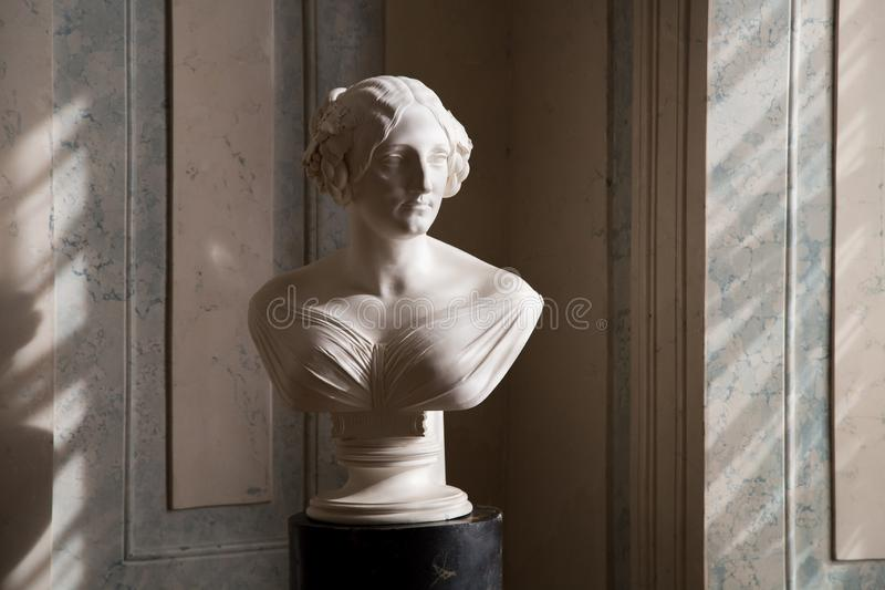 Ladies statue in in Rundale palace, Latvia. One of the rooms 107 is dedicated to the von Behr family, a family of landlords who played an important role in the stock photo
