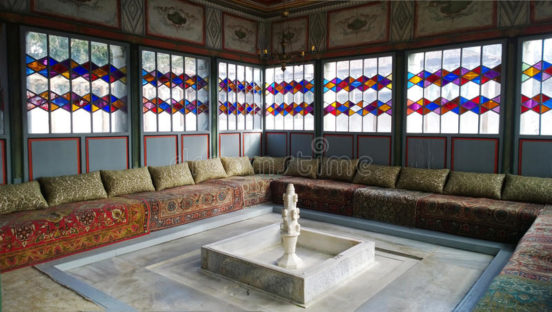 One of the rooms in the Khan`s Palace in Bakhchisarai. Russia stock photography