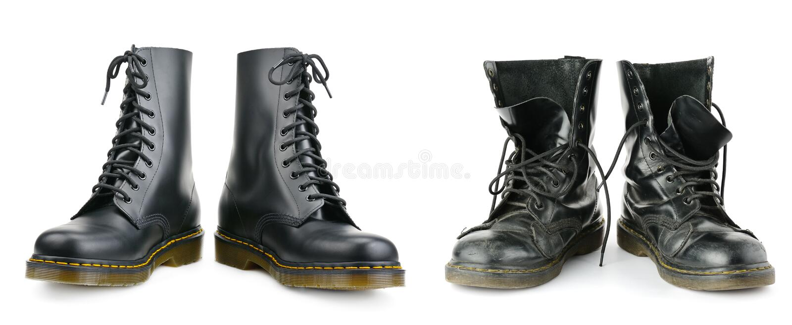 One and the same pair of black men`s boots. New and worn out. stock image