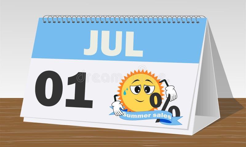 One september, de zomerverkoop, blauwe en witte klok en kalender royalty-vrije illustratie