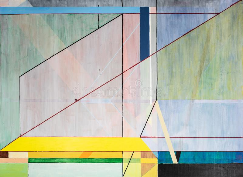 One of a series of geometric abstract paintings; each evolving from the previous painting.  This is number 6 in the series. This image is one of a series of stock illustration