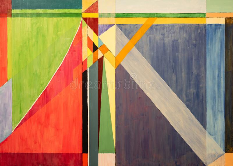 One of a series of geometric abstract paintings; each evolving from the previous painting.  This is number 3 in the series. This image is one of a series of stock illustration