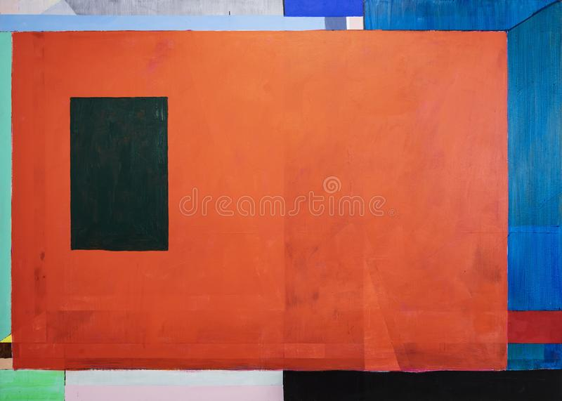 One of a series of geometric abstract paintings; each evolving from the previous painting.  This is number 9 in the series royalty free illustration