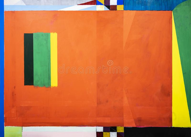 One of a series of geometric abstract paintings; each evolving from the previous painting.  This is number 10 in the series. This image is one of a series of royalty free illustration