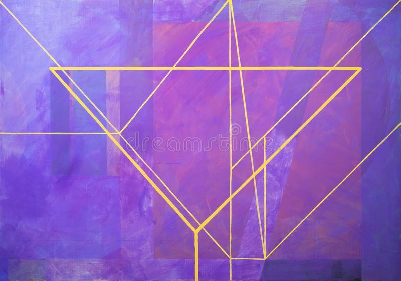One of a series of geometric abstract paintings; each evolving from the previous painting.  This is number 14 in the series. This image is one of a series of stock illustration