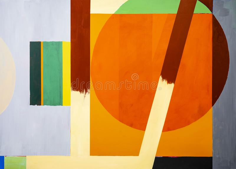 One of a series of geometric abstract paintings; each evolving from the previous painting.  This is number 12 in the series. This image is one of a series of royalty free illustration
