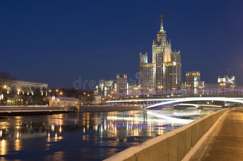One of seven Stalin skyscrapers: the high-rise building on Kotelnicheskaya Embankment, Moscow royalty free stock images