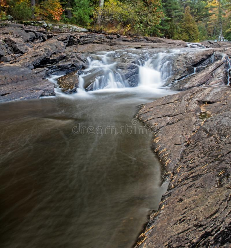 Wilson`s Falls In Bracebridge, Ontario, Canada. One of the several picturesque drops on the north branch of the Muskoka River that, as a whole, make up Wilsons royalty free stock photography