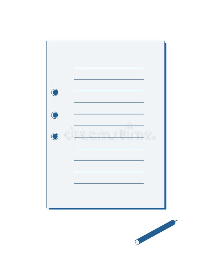 One sheet from a notebook and a blue pen royalty free stock images