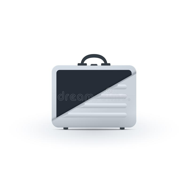 One side of briefcase half cut vector illustration