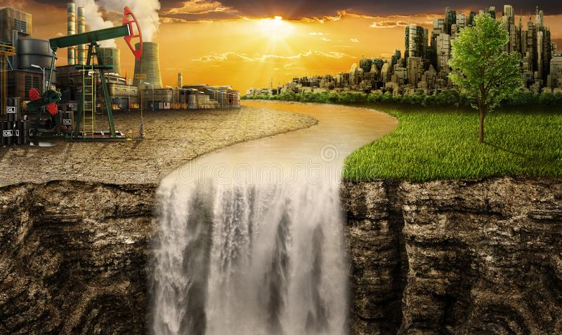 One side is nature with future city, different side. Eco concept. One side is nature with future city, different side is plant and dry ground with oil pump stock photography